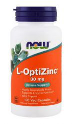 NOW L-OptiZinc + медь 30 mg (100 кап)